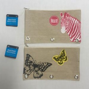 """2 pouches for pencils or cosmetic. Sz 9x4"""" New NWT"""